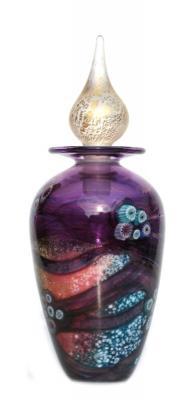 Plum glass perfume bottle